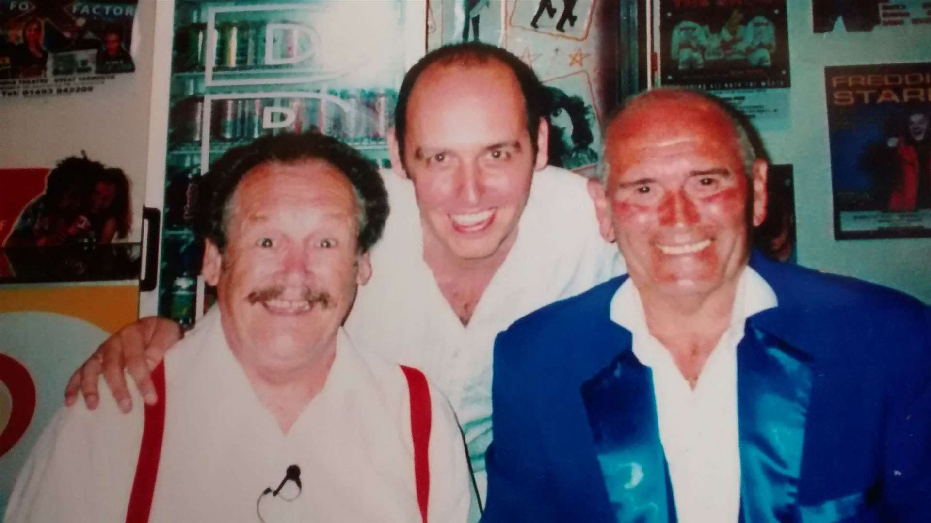 Colin Mills (centre) with his idols Bobby Ball (left) and Tommy Cannon (right). Picture: Colin Mills