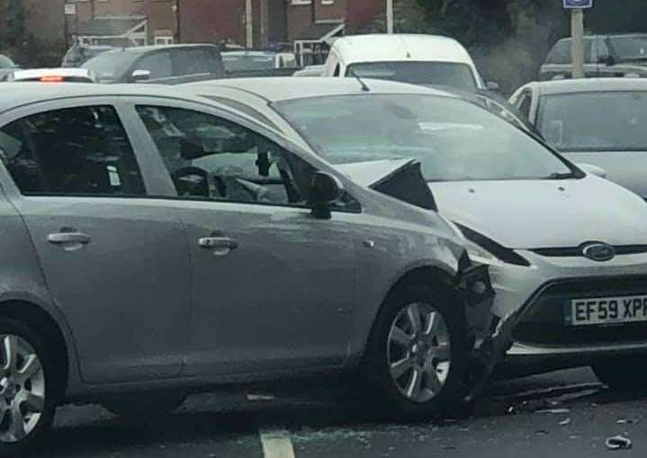 Cars were damaged in the incident Walderslade Road