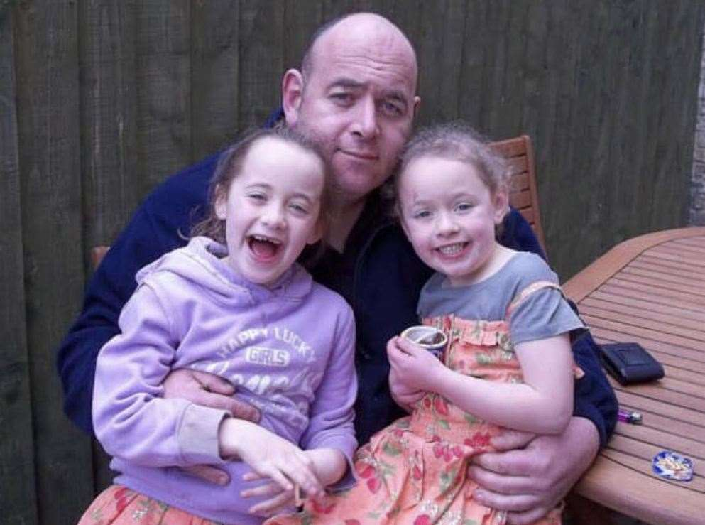 Mike Peachey with daughters Freya, right, and Matilda about 10 years ago