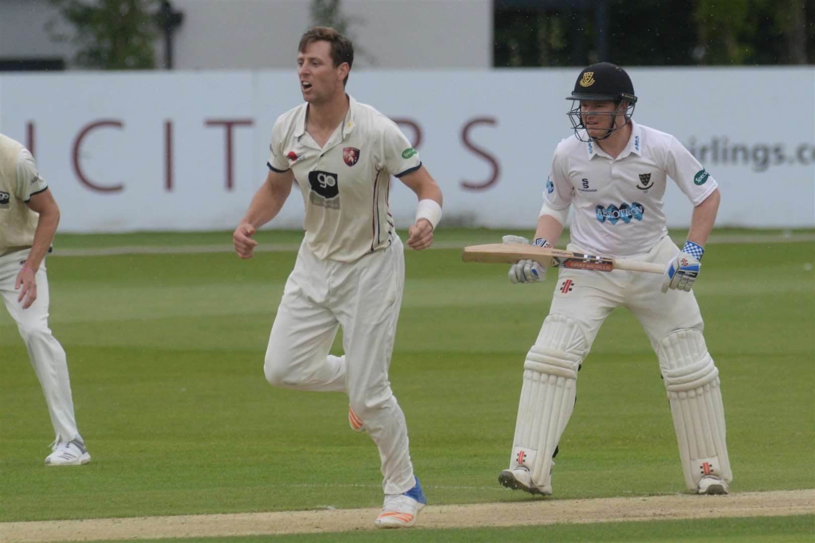 Sussex batsman and captain Ben Brown and Kent's Matt Henry in action. Picture: Chris Davey