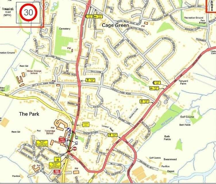 The proposed diversion route which will be in place during gas works in Tonbridge(15647390)
