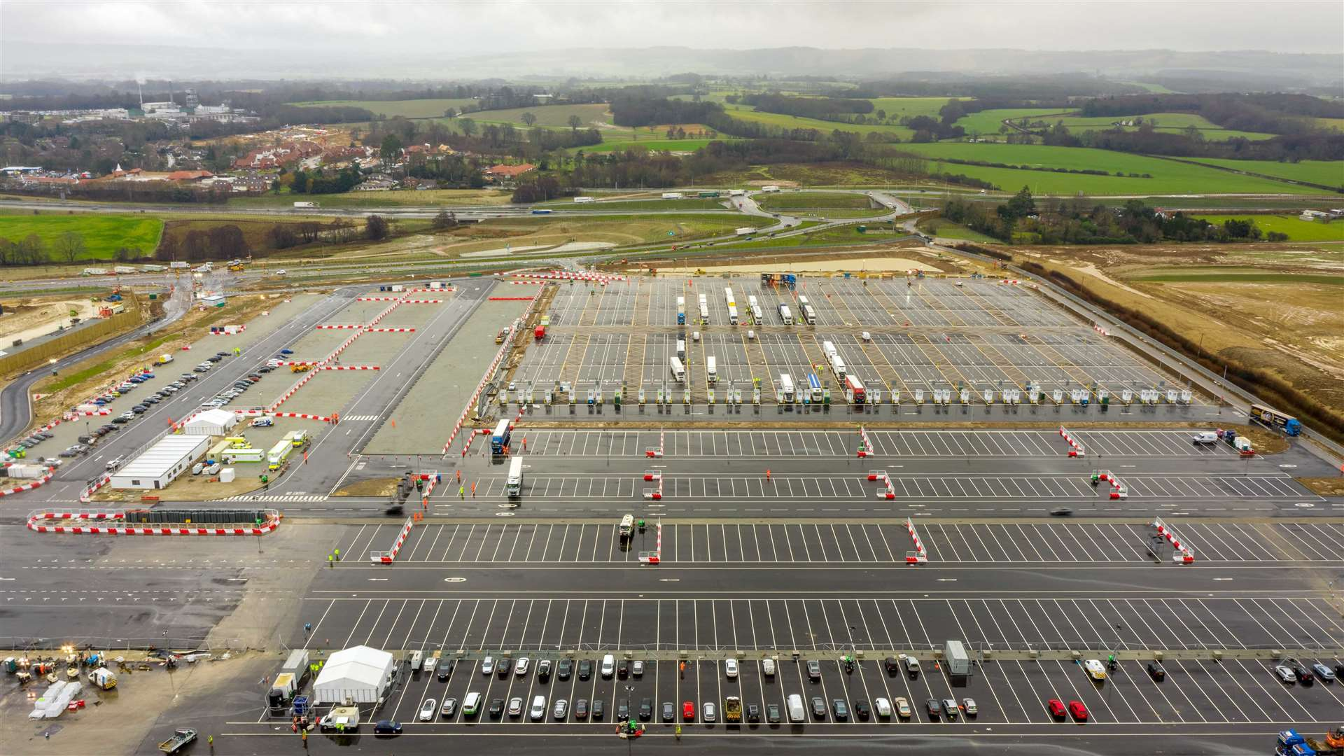 The lorry park is pictured here days after opening in January. Picture: Esprit Drone Services