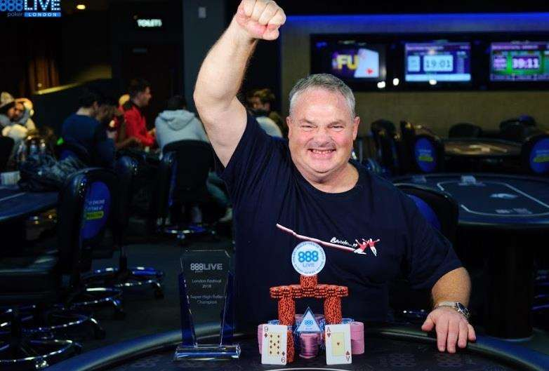 Sittingbourne businessman Ian Hunter punches the air in celebration at his win