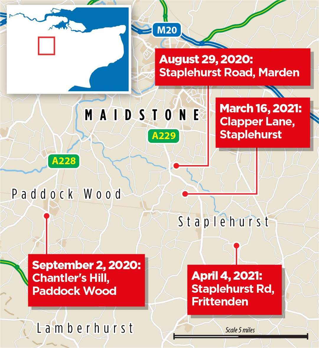A map showing the locations of four previous aggravated burglaries on rural properties in the Weald