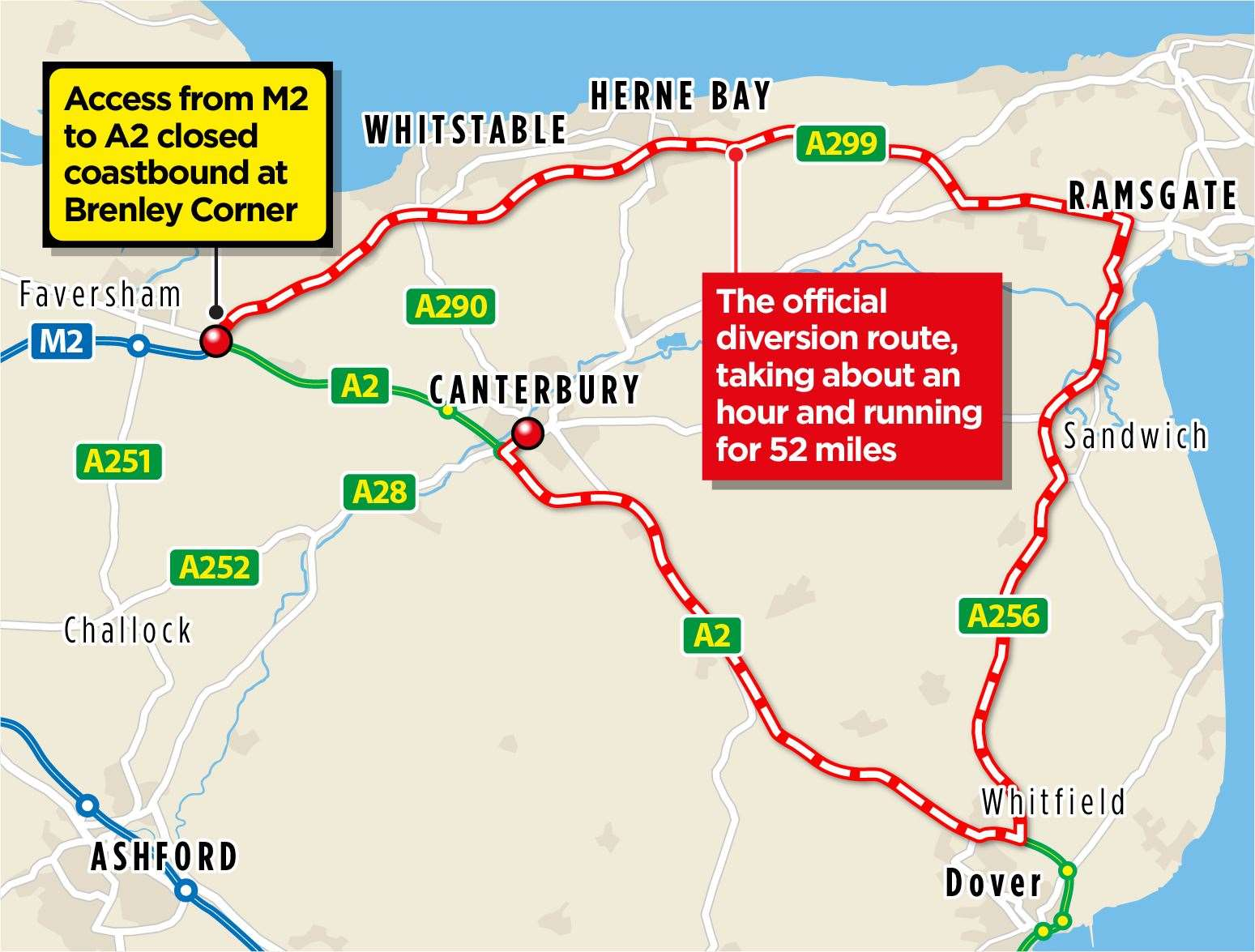 The official diversion route for those heading to Canterbury and Dover