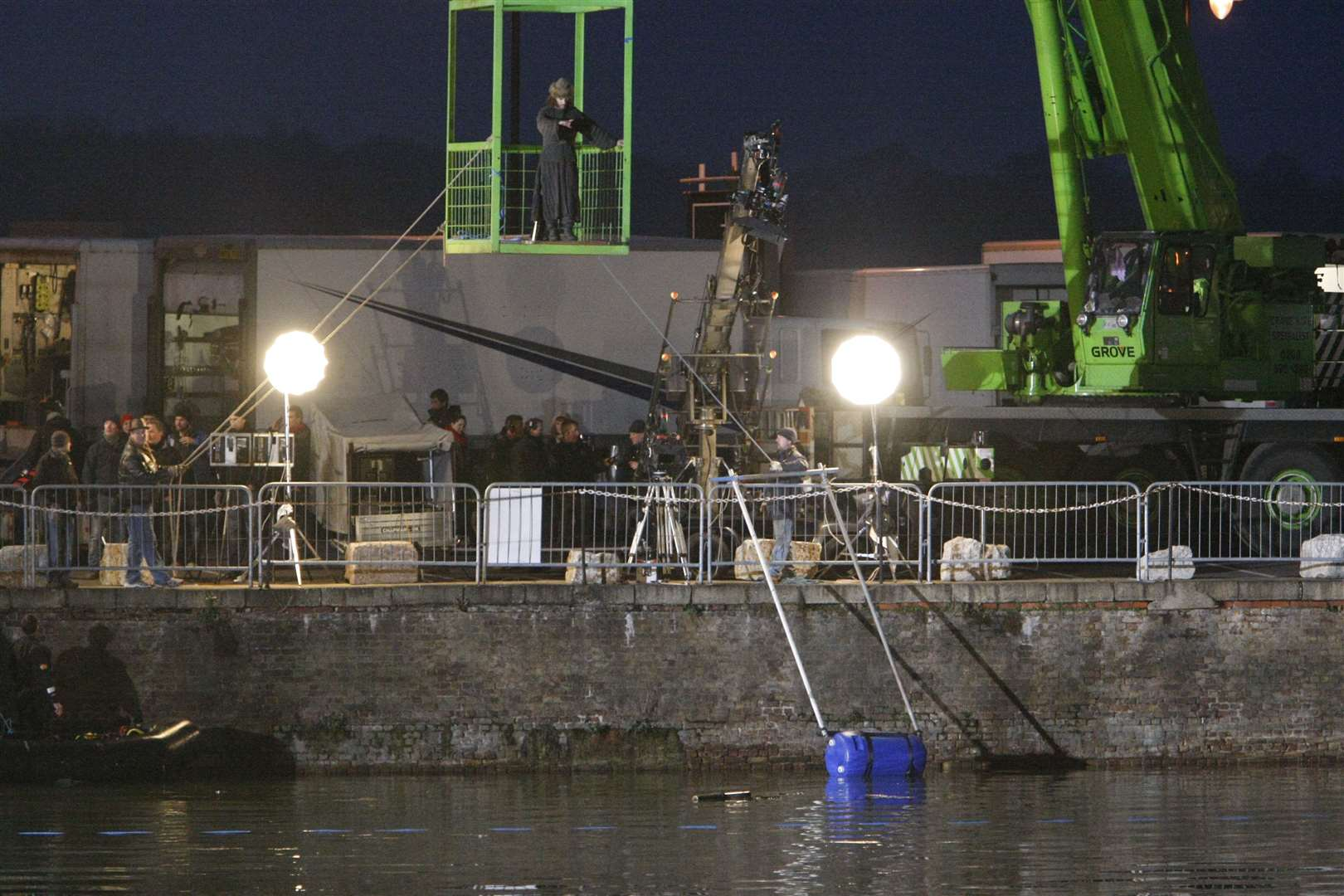 Stunts for Sherlock Holmes being filmed at Chatham