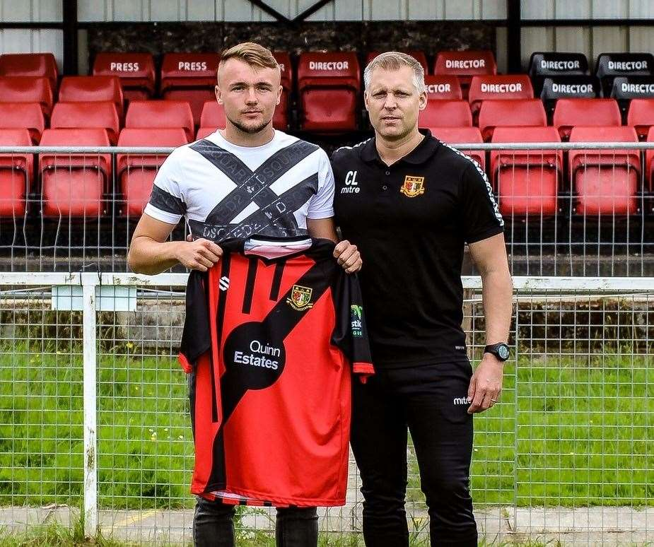 Harry Taylor with Chris Lynch after joining Sittingbourne from Millwall Picture: Sittingbourne FC
