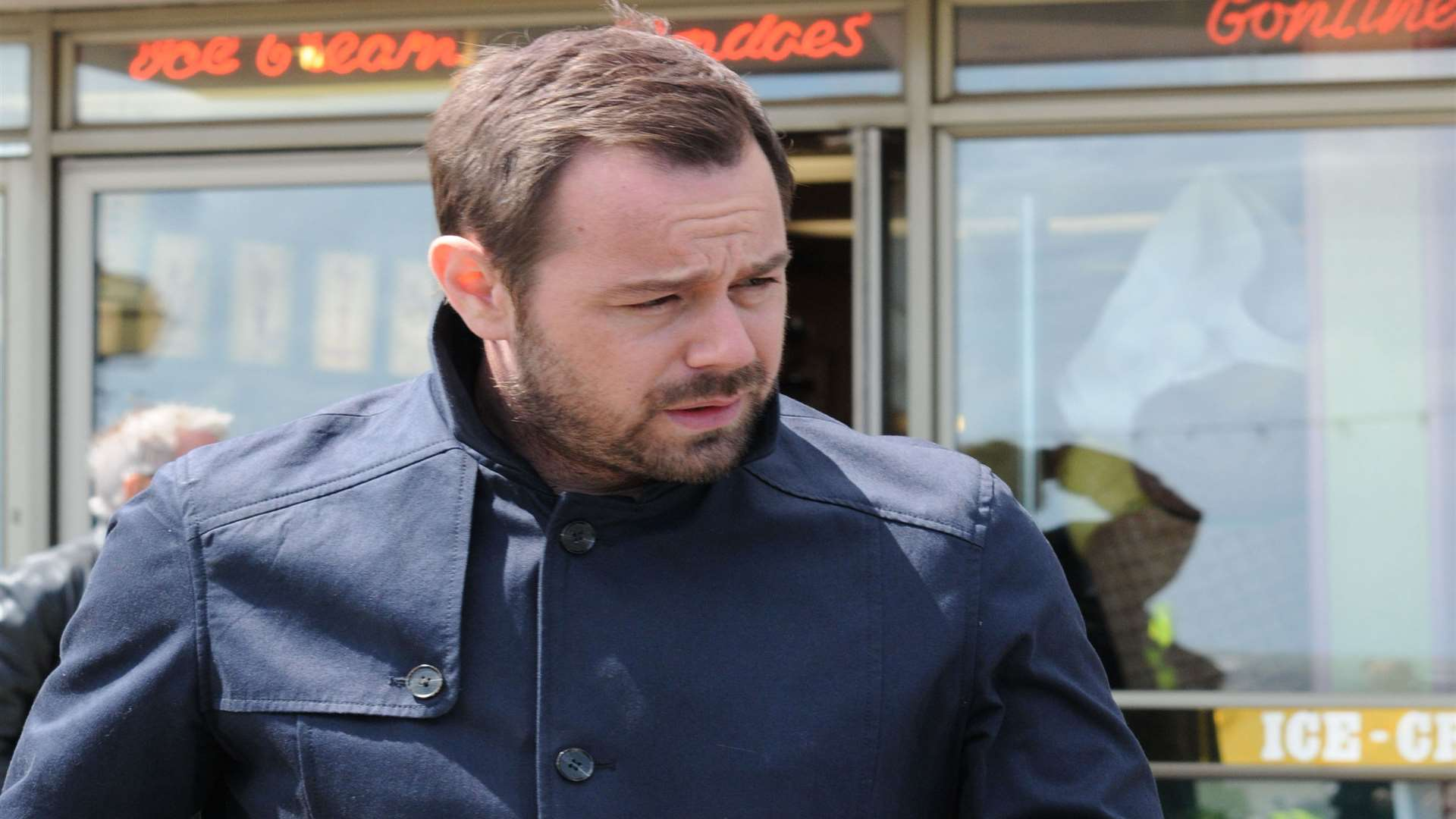 Danny Dyer outside Morelli's ice cream parlour