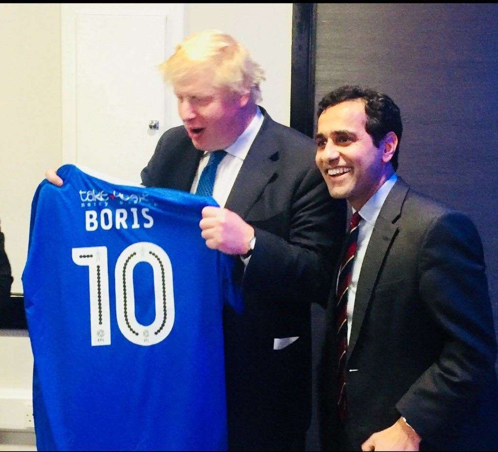 Boris Johnson was presented a Gills shirt by MP for GIllingham and Rainham, Rehman Chishti, who is backing Boris for Prime Minister. (13387613)