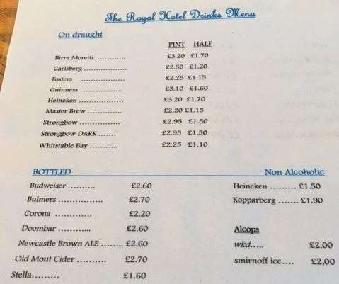 All drink prices are clearly displayed on plasticized tariffs available on each table