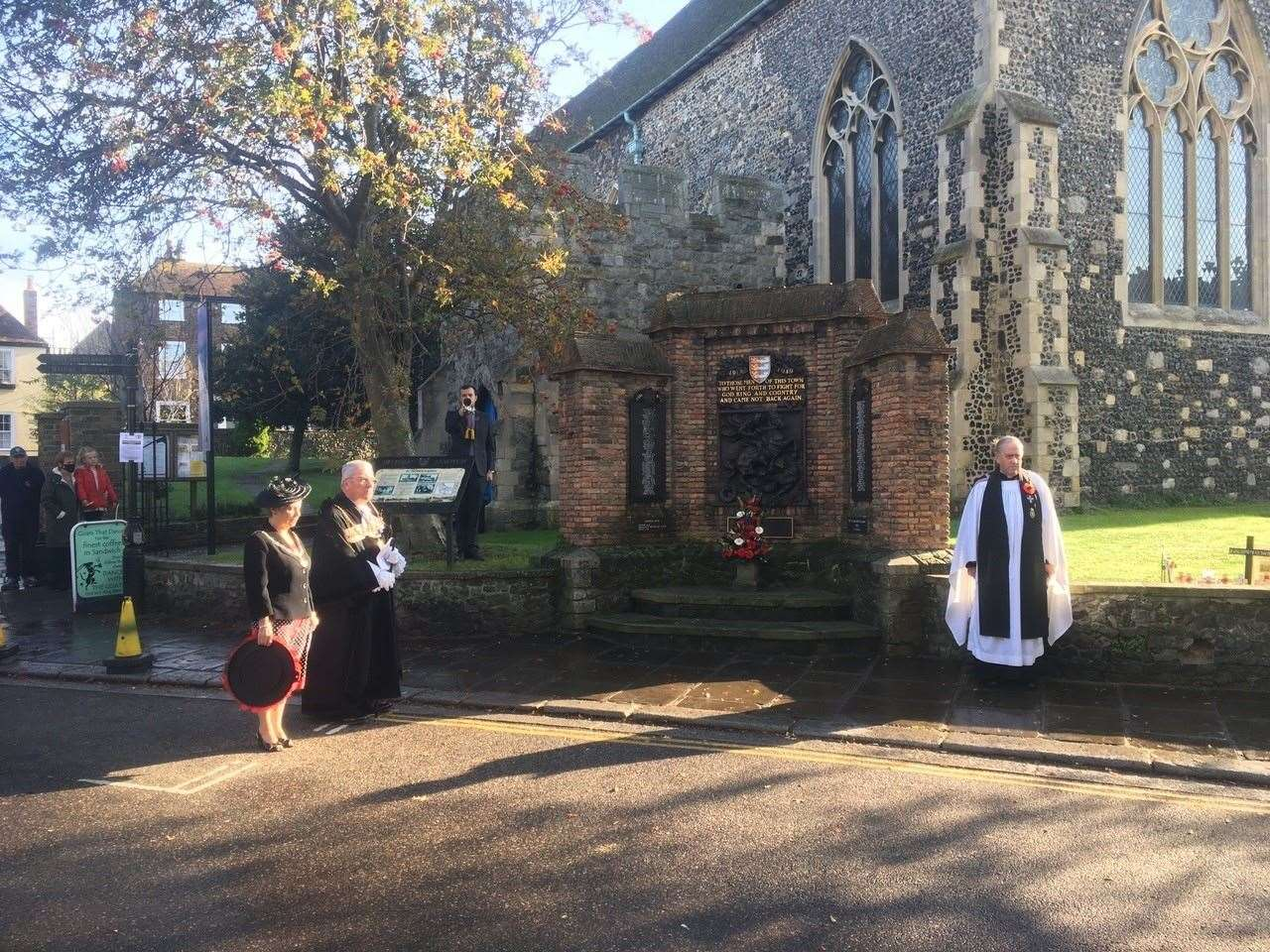 A small service was held at the war memorial in Market Street, Sandwich