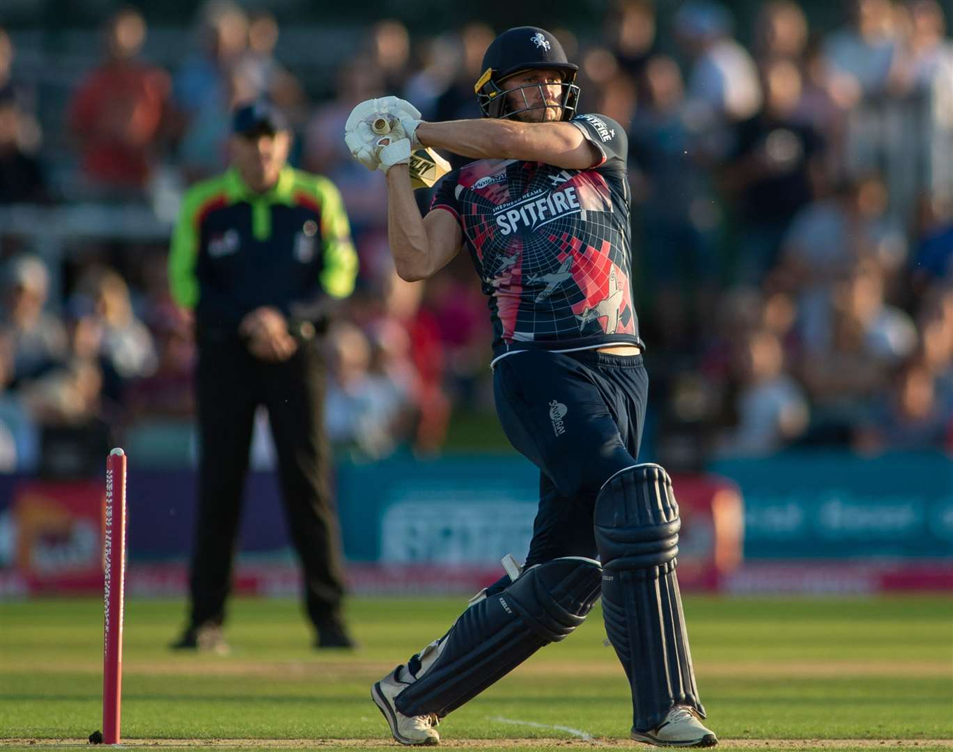 Alex Blake finds the boundary for Kent against Somerset. Picture: Ady Kerry