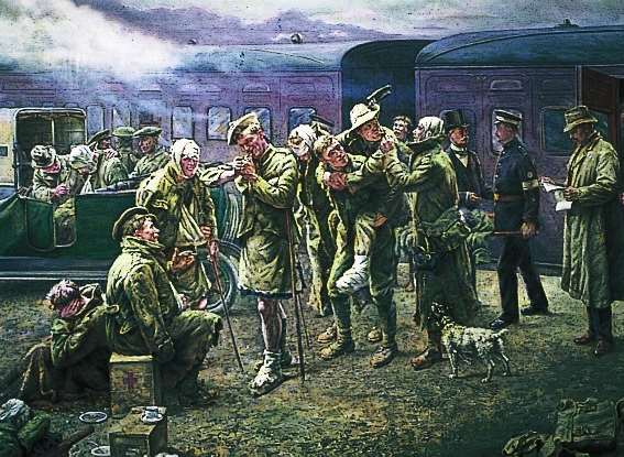 Arrival of a Convoy of Wounded Soldiers at Maidstone East by Frank Hyde