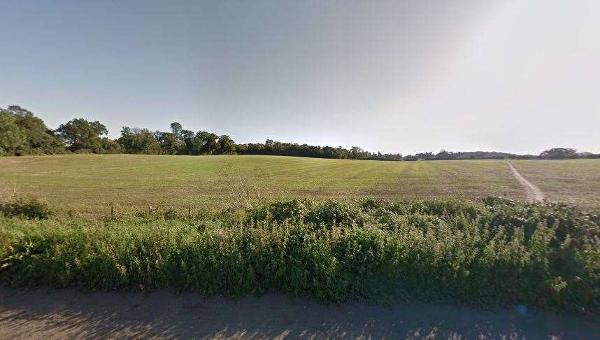 The site of the proposed housing development from the A20 London Road in East Malling. Picture: Google Street View