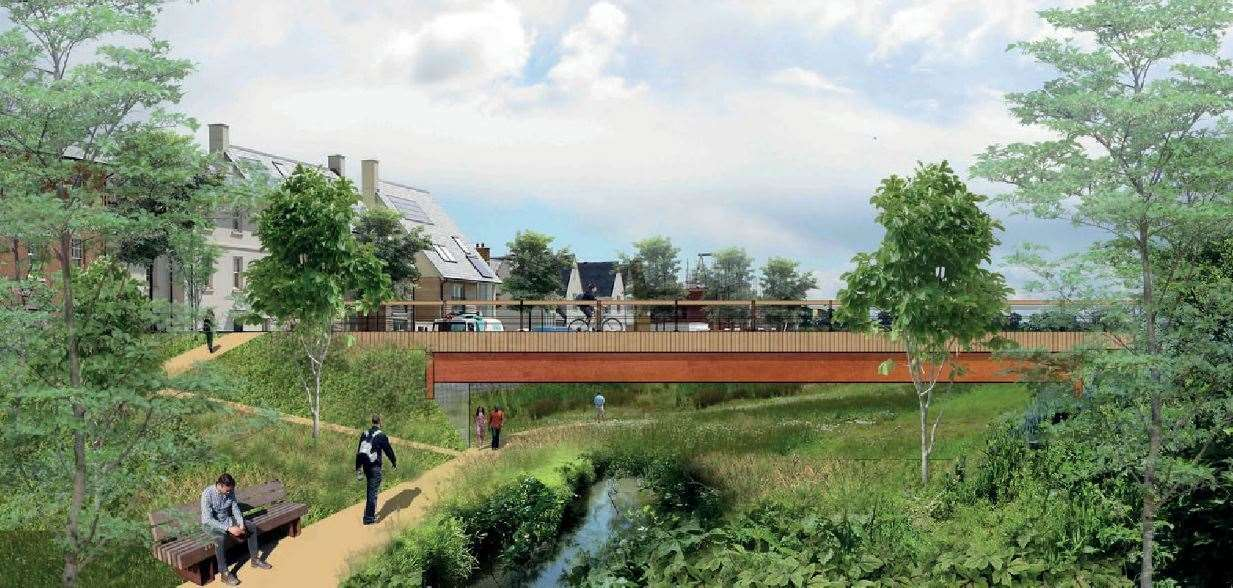 How Otterpool Park Riverside Park could look. Credit: Arcadis Design and Access statement