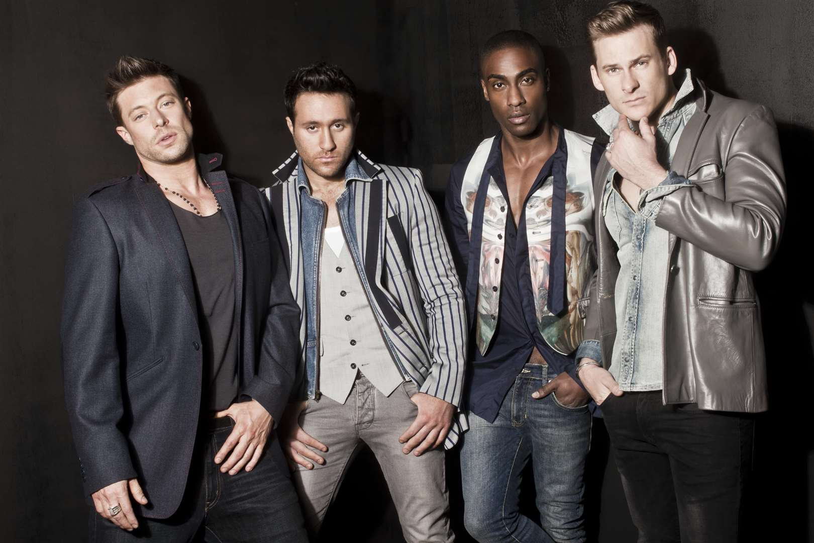 Lee Ryan with his bandmates in Blue