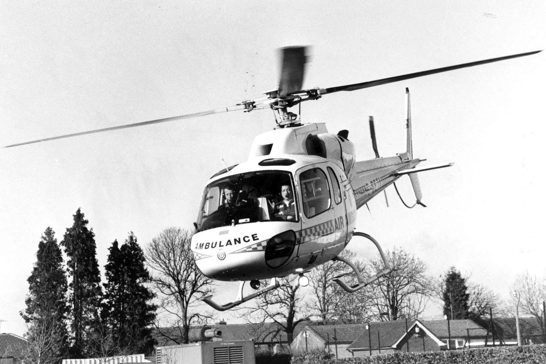 Kent air ambulance flies into action at the press launch at Great Danes Hollingbourne in March 1990. Picture: Barry Hollis.