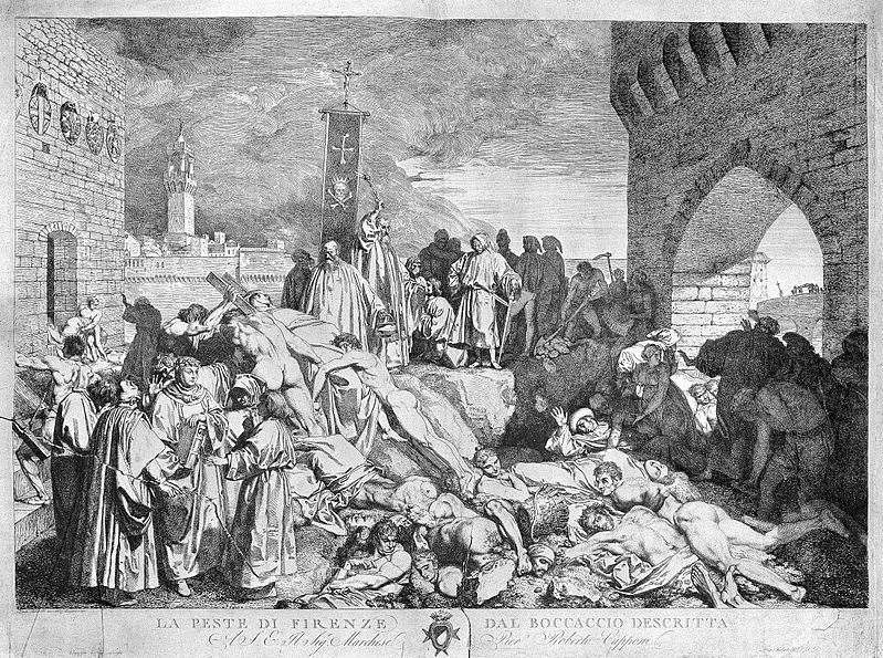 Luigi Sabatelli's 19th-Century etching depicts the plague of Florence in 1348