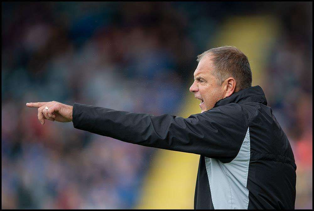 Steve Lovell dishing out instructions from the sideline Rochdale v Gillingham match action Picture: Ady Kerry (4187545)