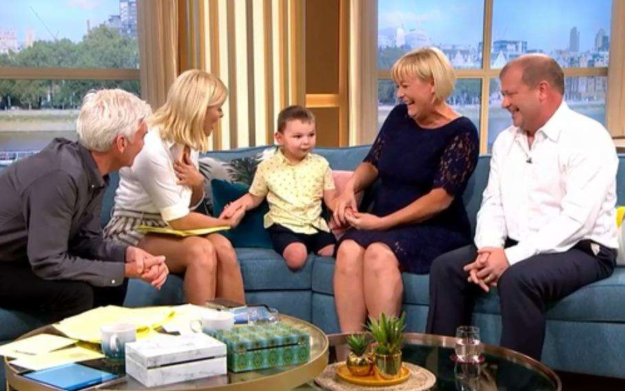 Mark and Paula Hudgell together with Tony, now three, and This Morning presenters Phillip Scofield and Holly Willoughby (2435603)