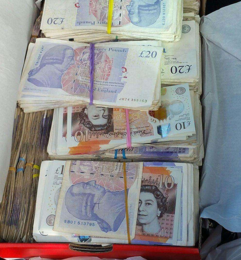 The money was found in a shoebox. Picture: Kent Police