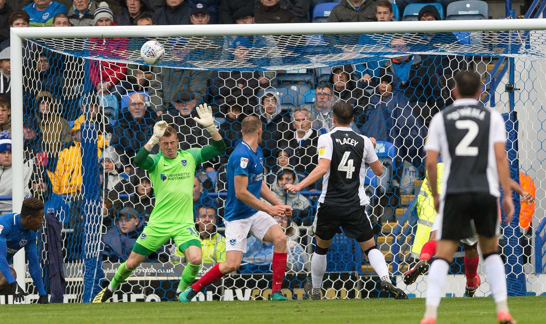 Alex Lacey scores the second goal on Saturday at Fratton Park Picture: Ady Kerry