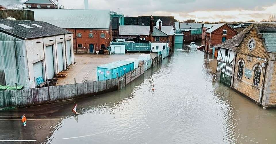 The extent of the flooding in Faversham on Thursday afternoon. Picture: The Quay