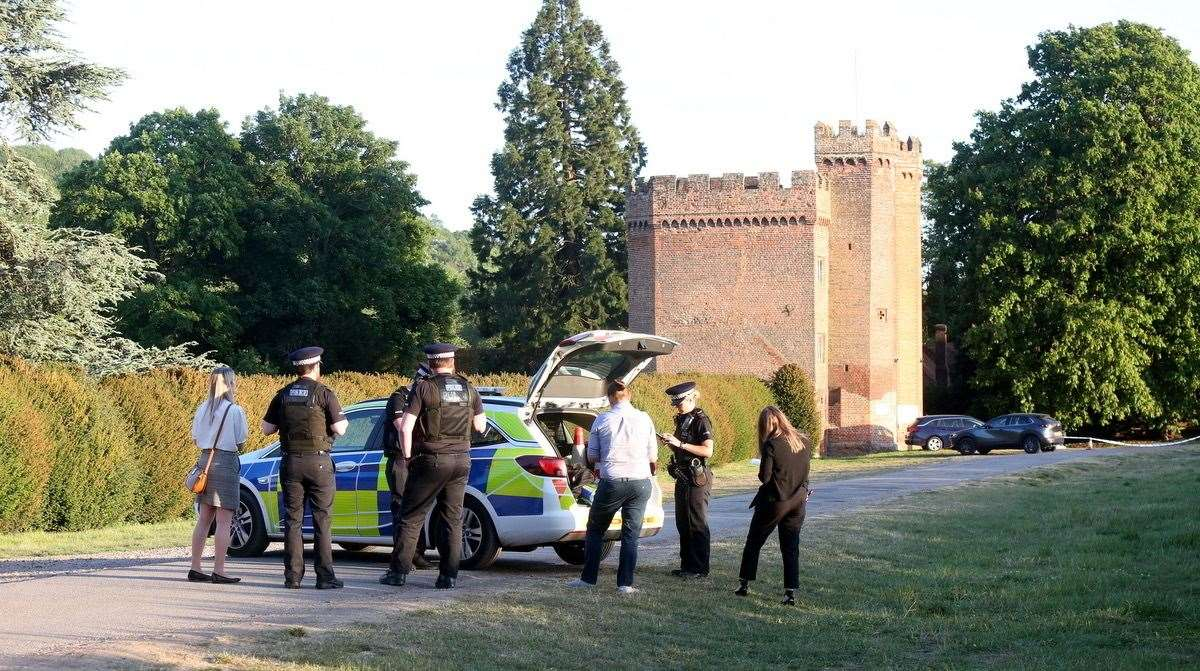 Police at the scene near Lullingstone Castle tonight. Picture: UKnip