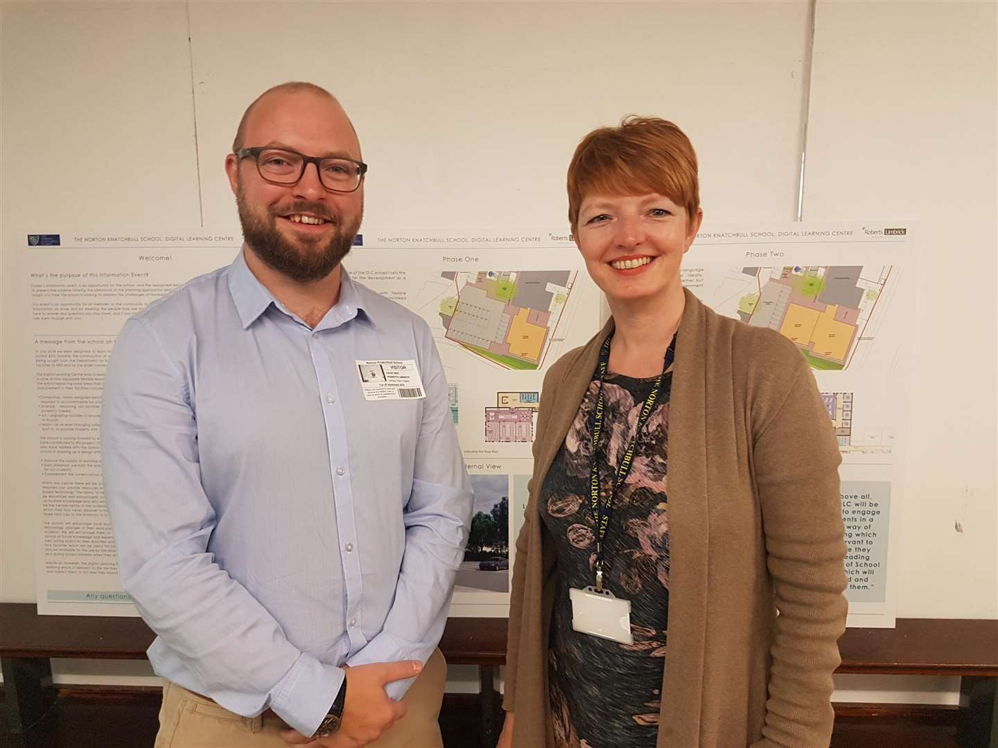 David Wint, from architect Roberts Limbrick, with head teacher Susanne Staab