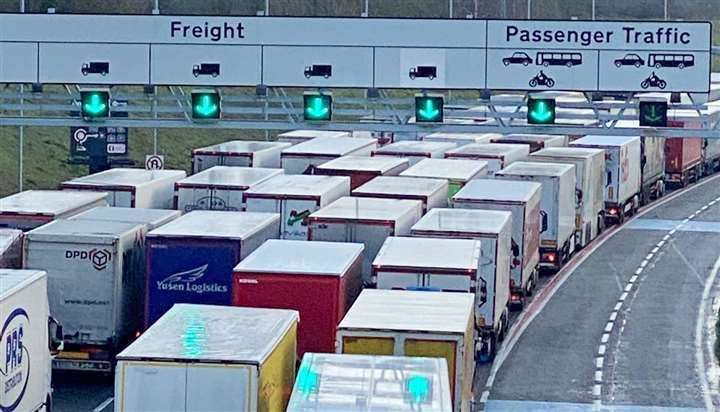 There was chaos on our roads just before Christmas - and long queues at Eurotunnel - after the French closed their borders temporarily. Picture: Barry Goodwin