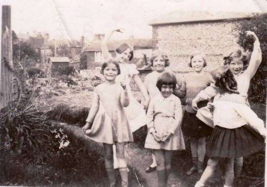 This photo shows Audrey Hepburn, then known as Ruston (2nd from the left) with other children from Elham. Picture: Sampson Family Collection