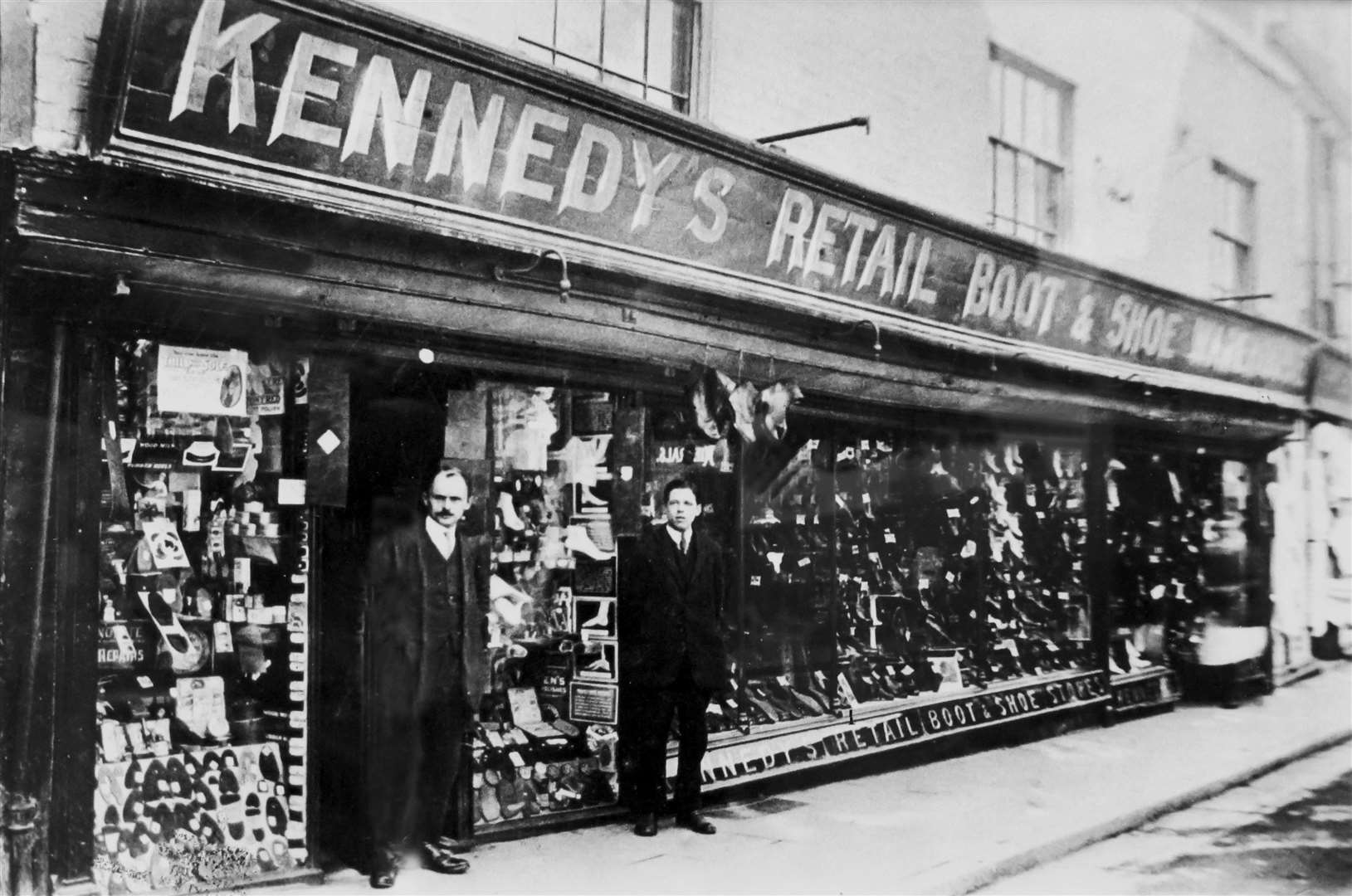 Kennedy's shop shop in Sun Street pictured in about 1910 with owner Bert Kennedy (left)