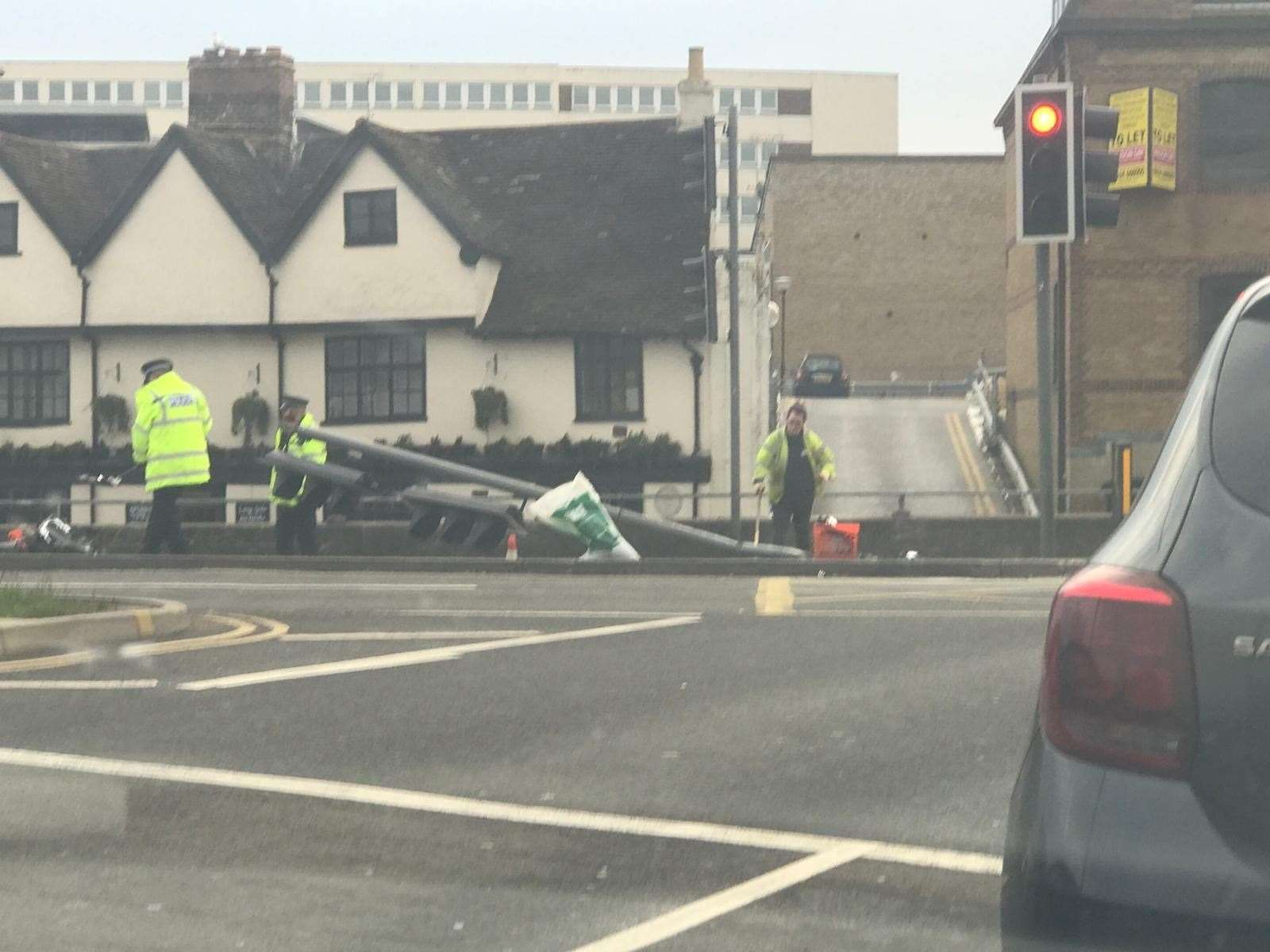 Traffic lights have been knocked into the road in Fairmeadow (8529246)