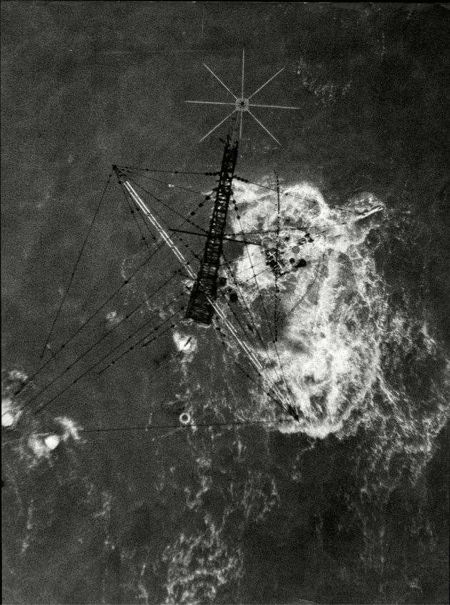 Aerial photograph of the wreck of Radio Caroline's Mi Amigo just showing its mast
