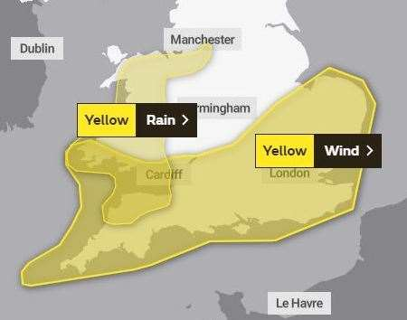 The weather warning covering Kent