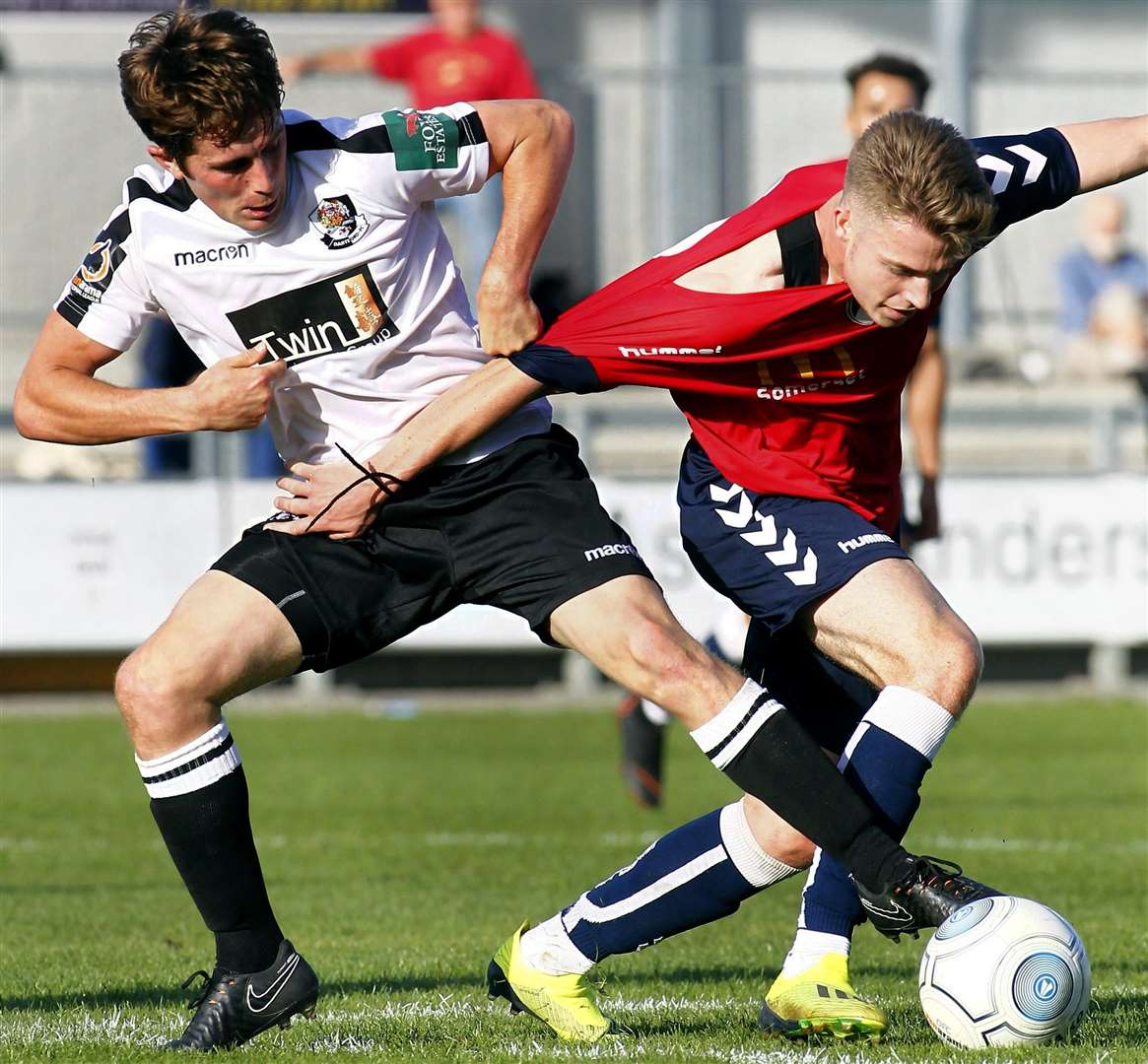 Dartford's Lee Noble battles against Weston on Saturday. Picture: Sean Aidan