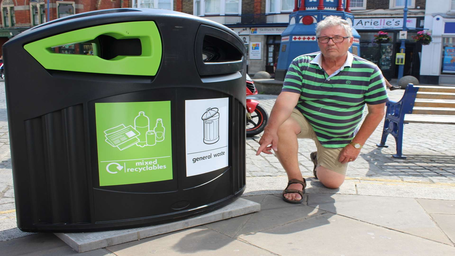 Rubbish: Brian Spoor of the Sheerness Town Team is concerned about the positions of new litter bins