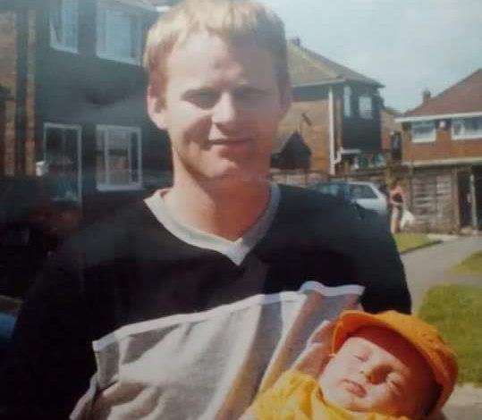 Scott O'Rourke with his son Jordan 20 years ago