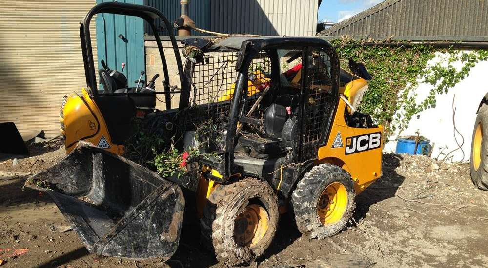 A reward of £10,000 was offered after expensive machinery was stolen