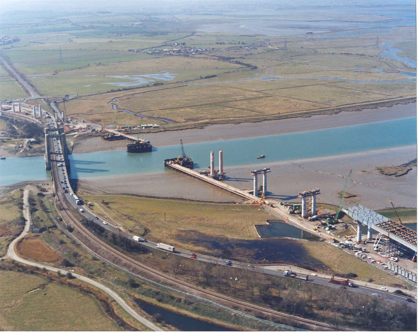Aerial photographs showing progress of the Second Swale Crossing works taken in March 2005.