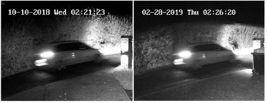 Lacomba's car was captured on CCTV at Littlefields in Plaxdale Green Road on the night Sarah Wellgreen disappeard in October 2018. The image on the left is from the night itself, while the image on the right is from a police reconstruction using Lacomba's car in Febuary 2019