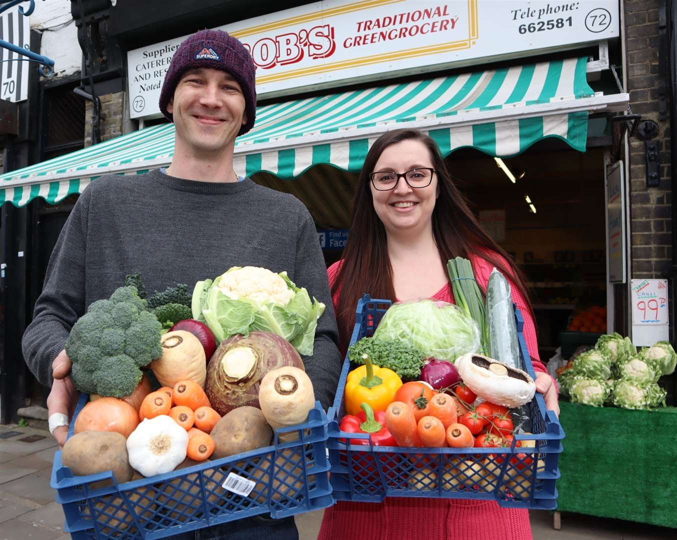 Lewis and Stacey Feaver of Rob's Traditional Greengrocery in Sheerness are fighting back in the battle to keep high street businesses alive by introducing £10 vegetable, salad and fruit packs