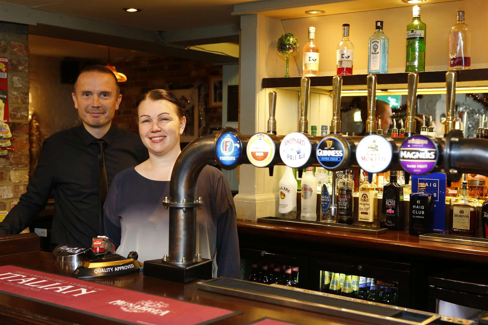 Queen Anne pub's assistant manager Wayne Curtis and owner Claire Darcey. Picture: Andy Jones