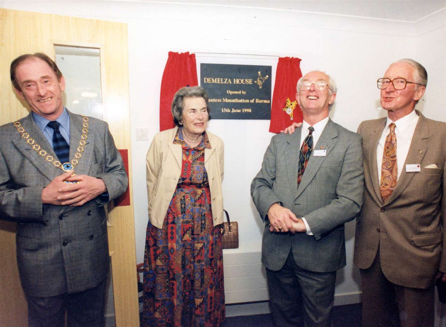 From left, former mayor of Swale, Cllr Gerry Lewin, the late Countess Mountbatten of Burma, Derek Phillips, and Harold Rogers, the then president of Demelza Hospice Care for Children