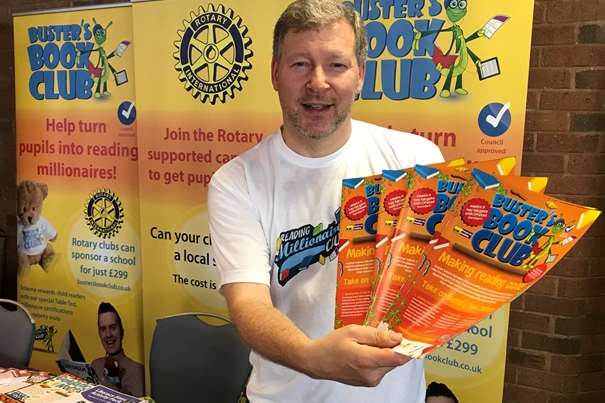 Simon Dolby on the Buster's Book Club stand at the Rotary regional conference