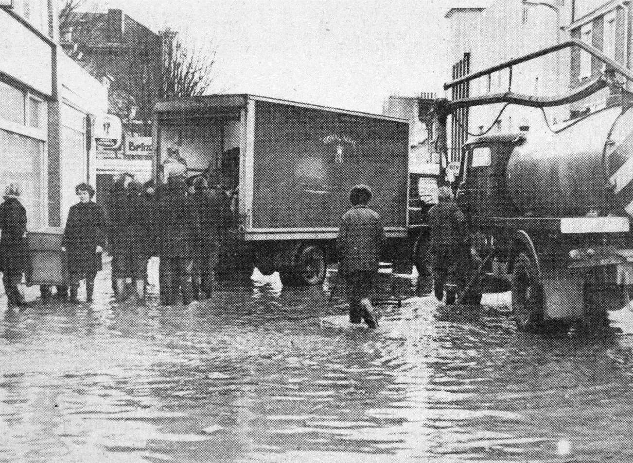 The Royal Mail had to get through - even when Sheerness Post office was flooded by the sea in January 1978. KM Photographer