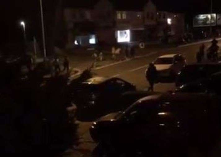 People were seen running around the streets in the early hours after the Swanley rave