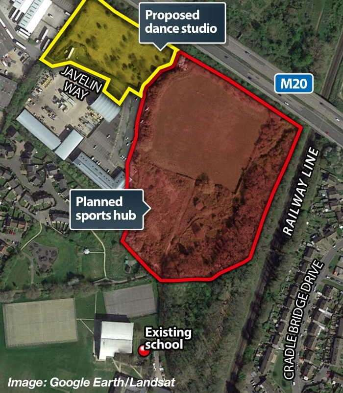 The proposed site is next to Norton Knatchbull School's sports centre plan