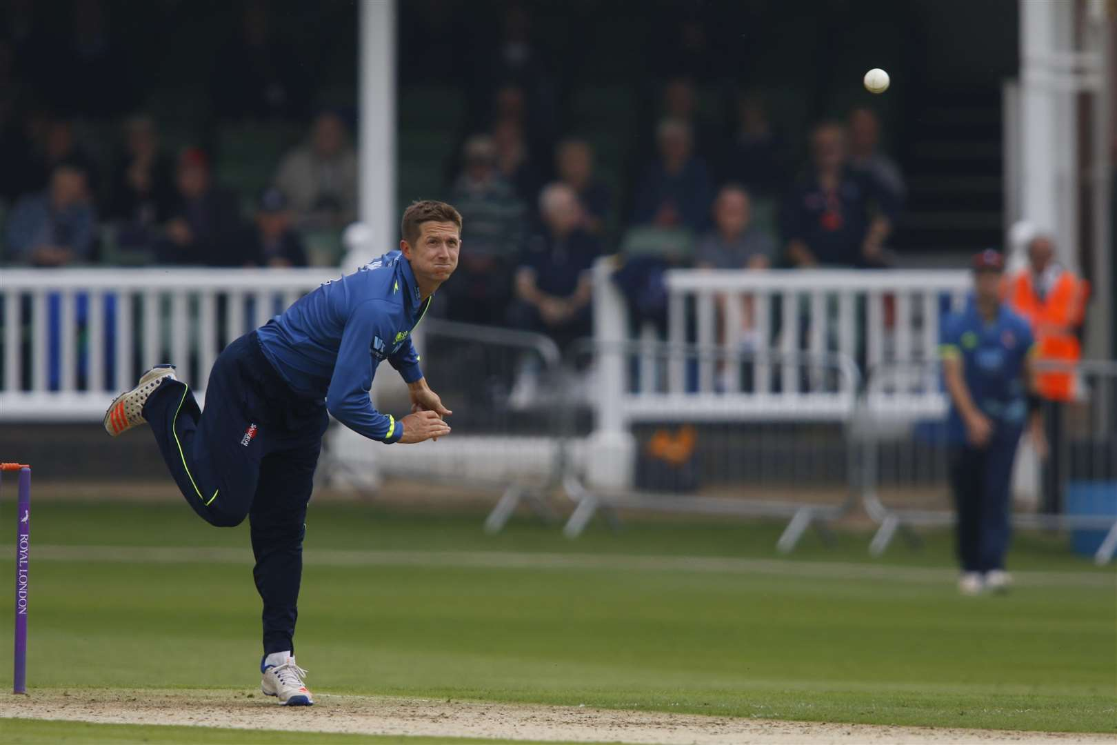 Joe Denly bowling. Picture: Andy Jones