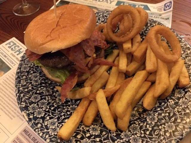 The Empire State Burger came with chips and onion rings